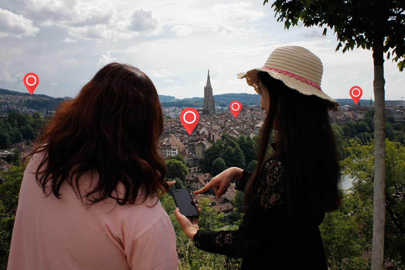 Tourist using our Map in Bern!